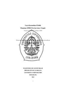 Gaya Komunikasi Politik Pimpinan DPRD Provinsi Jawa Tengah Pada Saat Reses Tahun 2010