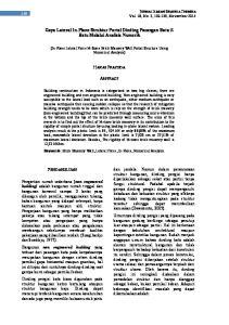 Gaya Lateral In-Plane Struktur Portal Dinding Pasangan Bata ½ Batu Melalui Analisis Numerik