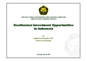 Geothermal Investment Opportunities in Indonesia