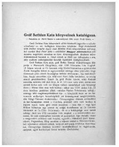 Gróf Bethlen Kata könyveinek katalógusa. Bemutatta dr. Márki Sándor a szakosztálynak szept. 26-iki ülésén