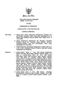 Gubernur Jawa Barat. PERATURAN GUBERNUR JAWA BARAT NOMOR : 40 Tahun 2011 TENTANG KEWASPADAAN DINI MASYARAKAT DENGAN RAHMAT TUHAN YANG MAHA ESA