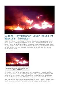 Gudang Penyimpanan Solar Milik Pt Waskita Terbakar