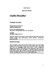 Hadits Maudhu Triyasyid Nuruddin Sekilas Pandang Hadits Maudhu
