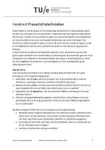 Hand-out Presentatietechnieken