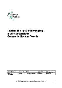 Handboek digitale vervanging archiefbescheiden Gemeente Hof van Twente