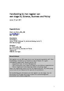 Handleiding bij het regelen van een stage bij Science, Business and Policy