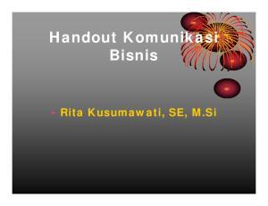 Handout Komunikasi Bisnis Rita Kusumawati, SE, M.Si