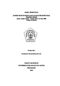 HASIL PENELITIAN. SANKSI HUKUM PIDANA DALAM MALPRAKTIK BAGI PROFESI MEDIS (Study Analisis Undang Undang Nomor 36 Tahun 2009 Tentang Kesehatan)