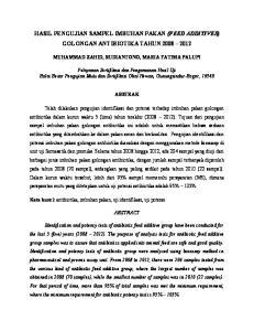 HASIL PENGUJIAN SAMPEL IMBUHAN PAKAN (FEED ADDITIVES) GOLONGAN ANTIBIOTIKA TAHUN