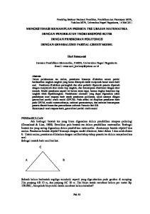 Heri Retnawati. Jurusan Pendidikan Matematika, FMIPA, Universitas Negeri Yogyakarta