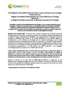 Het Belgische GreenWatt bekroond door Franse ministerie van Ecologie
