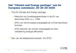 Het Climate and Energy package van de Europese commissie: