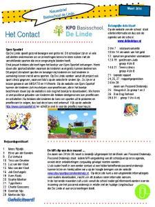 Het Contact. Belangrijke data Maart Op de website van de school staat allerlei informatie en dus ook de agenda van de school