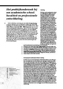 Het praktijkonderzoek bij een academische school: kwaliteit en professionele ontwikkeling