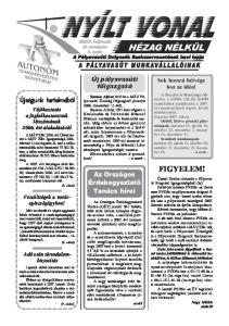 HÉZAG NÉLKÜL. Új pályavasúti fõigazgató