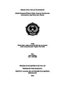 HISAB AWAL BULAN KAMARIAH. (Studi Komparatif Sistem Hisab Almanak Nautika dan Astronomical Algorithms Jean Meeus)