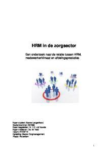 HRM in de zorgsector
