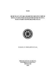 HUBUNGAN ANTARA DIABETES MELITUS TIPE II DENGAN KOLONISASI BAKTERI KONJUNGTIVA PADA PASIEN DI POLIKLINIK MATA