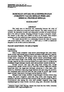 HUBUNGAN ANTARA NILAI KEPERAWANAN (VIRGINITY VALUE) DENGAN PERILAKU SEKSUAL PRANIKAH REMAJA