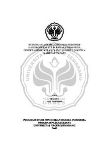 HUBUNGAN ANTARA ORGANISASI KONSEP DAN PRODUKSI TULIS BAHASA INDONESIA PESERTA DIDIK KELAS IX SMP NEGERI 2 JAKENAN KABUPATEN PATI
