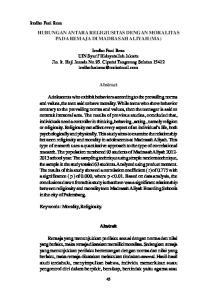 HUBUNGAN ANTARA RELIGIUSITAS DENGAN MORALITAS PADA REMAJA DI MADRASAH ALIYAH (MA) Abstract