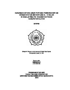 HUBUNGAN ANTARA UMUR PERTAMA PEMBERIAN MP ASI DENGAN STATUS GIZI BAYI USIA 6 12 BULAN DI DESA JATIMULYO KECAMATAN PEDAN KABUPATEN KLATEN