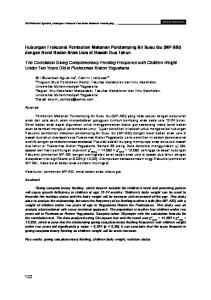 Hubungan Frekuensi Pemberian Makanan Pendamping Air Susu Ibu (MP-ASI) dengan Berat Badan Anak Usia di Bawah Dua Tahun