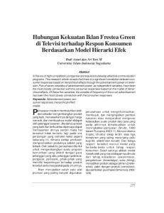 Hubungan Kekuatan Iklan Frestea Green di Televisi terhadap Respon Konsumen Berdasarkan Model Hierarki Efek
