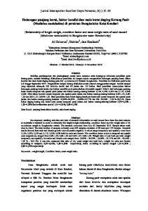 Hubungan panjang berat, faktor kondisi dan rasio berat daging Kerang Pasir (Modiolus modulaides) di perairan Bungkutoko Kota Kendari