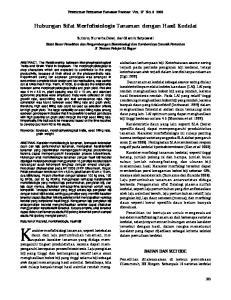 Hubungan Sifat Morfofisiologis Tanaman dengan Hasil Kedelai. Sutoro, Nurwita Dewi, dan Mamik Setyowati