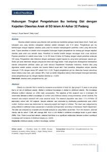 Hubungan Tingkat Pengetahuan Ibu tentang Gizi dengan Kejadian Obesitas Anak di SD Islam Al-Azhar 32 Padang