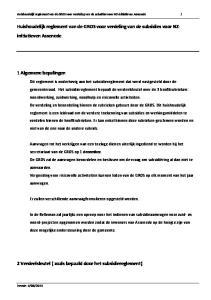 Huishoudelijk reglement van de GROS voor verdeling van de subsidies voor NZinitiatieven