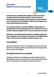 Huisregels Medisch Centrum Leeuwarden
