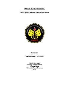 HYGIENE DAN SANITASI KERJA. HACCP & Work Safety and Health on Food Industry