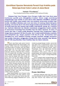 Identifikasi Spesies Nematoda Parasit Kopi Arabika pada Beberapa Areal Calon Lahan di Jawa Barat. Soekadar Wiryadiputra 1)