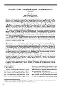 Identifikasi Zat Aktif Dalam Ekstrak Tanaman, Tes Anti Jamur dan Anti Serangga 1