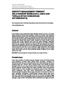 IDENTITY MANAGEMENT PRIMARY RELATIONSHIP BERBUDAYA JAWA DAN TORAJA (STUDI KOMUNIKASI ANTARBUDAYA)