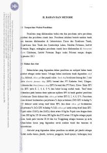II. BAHAN DAN METODE. 3.1 Tempat dan Waktu Penelitian