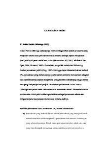 II. LANDASAN TEORI. Initial Public Offerings (selanjutnya disebut sebagai IPO) adalah penawaran atau