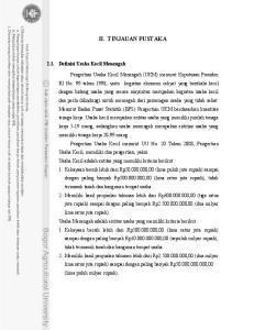 II. TINJAUAN PUSTAKA 2.1. Definisi Usaha Kecil Menengah