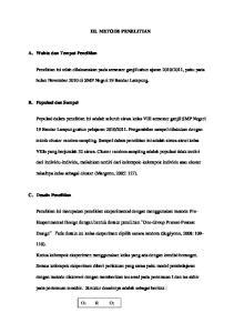 III. METODE PENELITIAN. bulan November 2010 di SMP Negeri 19 Bandar Lampung