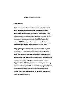 III. METODE PENELITIAN. penelitian yang bertujan untuk membuat deskripsi, gambaran atau lukisan