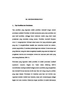 III. METODE PENELITIAN. Tipe penelitian yang digunakan adalah penelitian deskriptif dengan metode