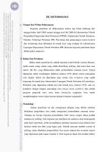 III. METODOLOGI A. Tempat dan Waktu Pelaksanaan B. Bahan Dan Peralatan C. Metodologi