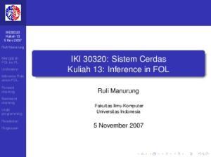 IKI 30320: Sistem Cerdas Kuliah 13: Inference in FOL