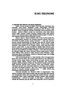 ILMU EKONOMI A. Pengertian Ilmu Ekonomi dan Ruang Lingkupnya