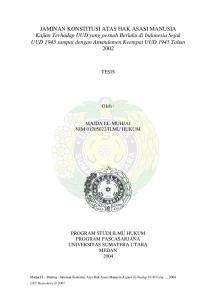 ILMU HUKUM PROGRAM STUDI ILMU HUKUM PROGRAM PASCASARJANA UNIVERSITAS SUMATERA UTARA MEDAN 2004