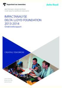 IMPACTANALYSE DELTA LLOYD FOUNDATION Onderzoeksrapport