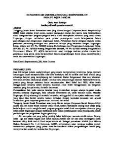 IMPLEMENTASI CORPORATE SOCIAL RESPONSIBILITY PADA PT AQUA DANONE