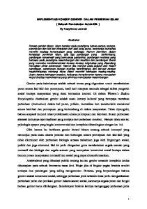 IMPLEMENTASI KONSEP GENDER DALAM PEMIKIRAN ISLAM ( Sebuah Pendekatan Autokritik ) By Nasyithotul Jannah. Abstraksi